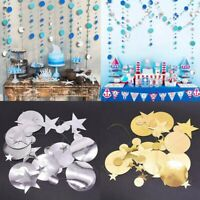 Home Hanging Decor Circle Banners 4M Paper Garland Star String Wedding Party