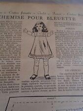 """PATRON ORIGINAL  POUPEE """" BLEUETTE """"LINGERIE CHEMISE DECEMBRE  1951"""