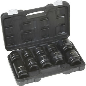 "7pc HD professional truck industrial 1/"" DR Jumbo impact Sockets Set metal case"