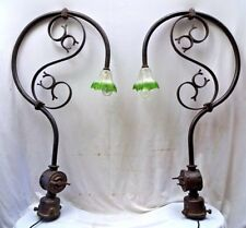 VINTAGE WROUGHT IRON PORCH LIGHT /OUTDOOR LAMP POST/OLD STREET LAMP VINTAGE PAIR