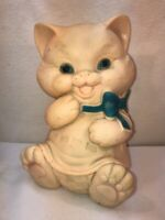 Vtg 1950's Rubber Cat Bank ROX DES OF FL Doll Toy TOO CUTE with Blue Bow