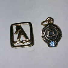Vintage 2 Southern Bell Yellow Pages Pin and Service Sapphire Award 10k