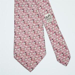 HERMES TIE 5454 FA Stock Bird & Briefcase on Dull Pink Classic Silk Necktie