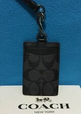 NEW MEN'S COACH SIGNATURE PVC and LEATHER LANYARD CHARCOAL/BLACK  F58106 $95