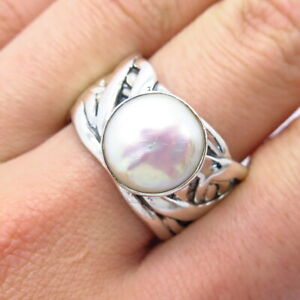 """Silpada 925 Sterling Silver Mother-Of-Pearl """"Swept Away"""" Ring Size 10.5"""