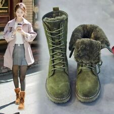 Snow Winter Boots Wedge Genuine Leather Shoes Ladies Platform Booties Women's