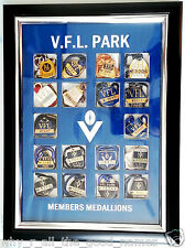 Vintage VFL Waverley Park Football MEMBERSHIP MEDALLIONS in Frame 1970 to 1987