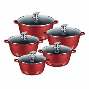 Die Cast Non Stick Ceramic Coated Stainless Steel Pot Set RED