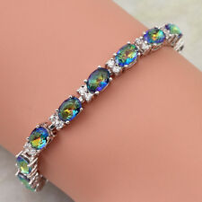 Beautiful Blue Rainbow Mystic Topaz Sterling Silver Plated Bracelet