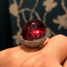 Classic Blood Red 40.00CT Ruby With Pave Set Round CZ Fashion Unique Design Ring
