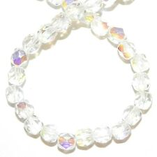 """CZ236 Crystal AB 4mm Fire-Polished Faceted Round Czech Glass Beads 16"""""""