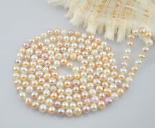 """7-8mm Freshwater Pearl white multi-color Opera 50"""" long endless Strand Necklace"""