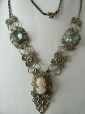 Vintage style necklace silver filigree Cameo and aquamarine blue stones