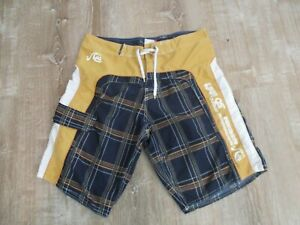 Quicksilver Embroider Spell Out Board Shorts Men Size 36 Blue orange white plaid
