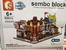 Sembo City Street Police Station Bank Oinema Restaurant Blocks Building Toy 4Pcs