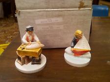 Sebastian Miniatures Set Figurine Sailing Days Boy Girl 2105 2104 Boat Sailboat