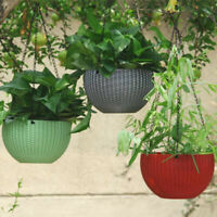 Plastic Hanging Flower Pot Chain Plant Planter Basket Home Garden Decoration UK