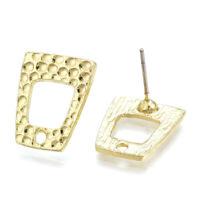 10PCS Alloy Bumpy Trapezoid Earring Posts Hollow Inner Loop Studs Lt. Gold 15mm