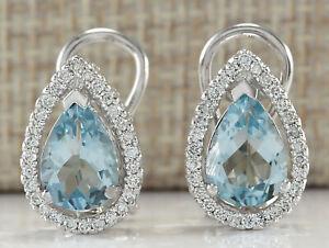 3.42 Carat Natural Aquamarine 14K White Gold Diamond Earrings
