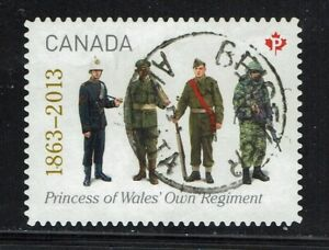 Beiseker AB CDS on Regiment Used Canada Stamps from 2013