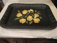 "Vintage Italian Serving Tray 19.5"" X 15"" Fruit Leaves Green"