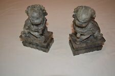 Vintage Foo Dogs Soapstone Hand Carved Pair