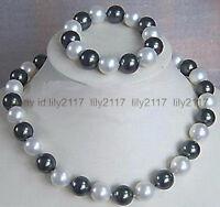 Genuine 10mm Black White South Sea Shell Pearl Round Necklace Bracelet Set 18''