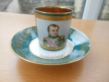 More details for sevres - antique imperial napoleonic demitasse cup and saucer - napoleon 1st