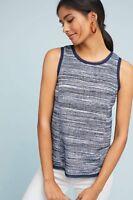 NWT Anthropologie Vanessa Virginia Blue Striped Tank Top Blouse Shirt Small