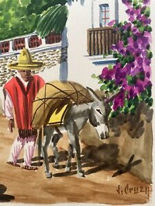 VINTAGE CENTRAL AMERICA VILLAGE SCENE WATERCOLOR PAINTING SIGNED BY ARTIST