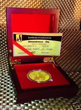 REMEMBRANCE DAY ~ Gold Plated collectable-Limited edition-C.O.A.incl DISPLAY BOX