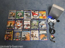 Sony Playstation 2 / PS2 Silber inkl. Controller + Kabel + 15 Spiele