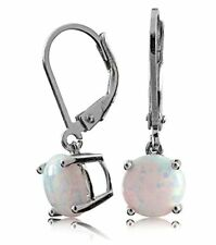 Sterling Silver Earring with Synthetic Opal 8mm in Dangling Leverback Basket Set