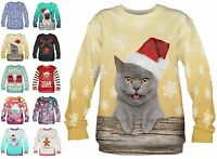 Unisex Teenagers Christmas Party Jumper Sweatshirt Xmas Sweater Funny Pug Emoji