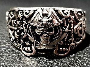 STERLING SILVER RING Gothic Solid 925 Man's Pirate's Skull Rocker Punk Jewelry