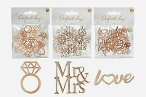 20 Wedding Table Decorations   Rustic Wooden Mr & Mrs Rings Love Confetti