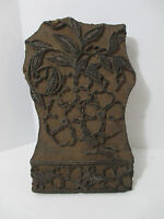 Antique Wooden Hand Carved Textile Printing Block Stamp Floral Border INDIA Wood