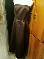 Michaelangelo size 12 dark brown strapless tea length dress style 8355