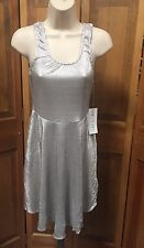 Sleeveless Skater Dress Size Small Silver Stretch Metallic Party Cocktail BDAY