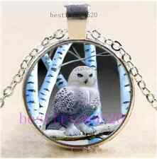 Beautiful Snowy Owl Photo Cabochon Glass Dome Silver Chain Pendant Necklace
