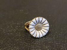 Denmark  Georg Jensen 925 Sterling Silver Enamelled Daisy Ring