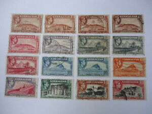 Gilbraltar KGVI 1938-51 SG122-9 1d-5/- used Small collection inc Perf. varietals