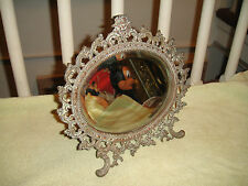 Antique Victorian Beveled Glass Makeup Mirror W/Stand-Cherub & Ornate Frame-Lqqk