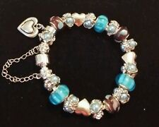 "European Heart Charm Bracelet Turquoise Purple Murano Bead Pearl  Charm 7.5"""