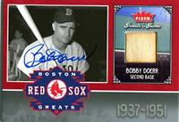 Bobby Doerr Autographed / Signed 2006 Fleer Bat Card