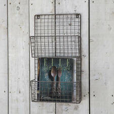 Vintage Industrial Wire Locker Room Shelving Storage Letter Magazine Wall Rack
