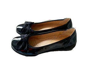 Gabor Ladies Women Dolly Shoes Sz 5.5 Black Patent Bow Ballet Casual