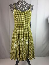 Vtg 90s TAHARI Yellow Black Spaghetti Strap Sundress 4 Grunge Rave Polka Dot