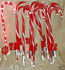 "Lot 18 CANDY CANE 27"" Lighted Indoor Outdoor Pathway Lights PVC Lawn Canes"