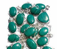 Malachite Wholesale Lot Silver Plated 10Pcs Pendant Gemstone Jewelry